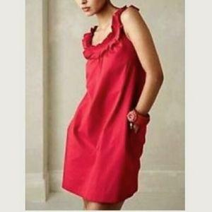 Anthropologie Fei red ruffle tank mini dress